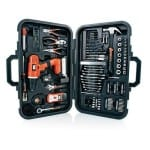 Home Tool Kit Black & Decker 20-volt Lithum Drill 133 Pcs Case Stud Finder