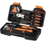 VonHaus Orange 39-Piece Tool Set - General Household Hand Tool Kit with Plastic Toolbox Storage Case